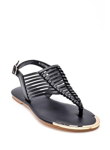 Derimod Kadın Örgü Detaylı Sandalet Siyah